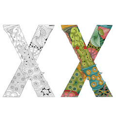 letter x zentangle for coloring decorative vector image