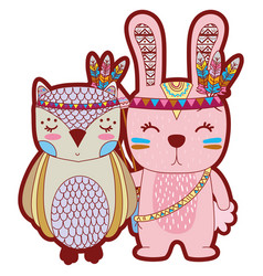 Line color owl and rabbit animals with feathers vector