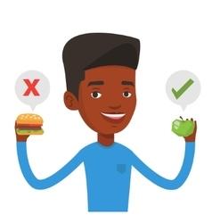 Man choosing between hamburger and cupcake vector