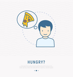 Man thinking about pizza thin line icon vector