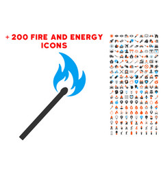 match fire icon with bonus energy collection vector image