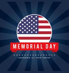 Memorial day poster gretting flag american vector