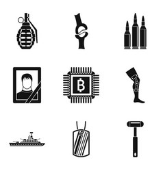 Military aid icons set simple style vector