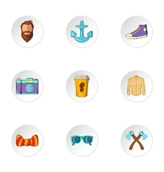 Modern hipsters icons set cartoon style vector