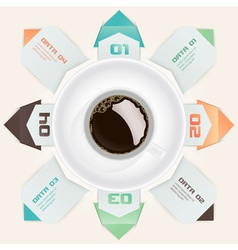 Modern Origami Style with cup of coffee vector