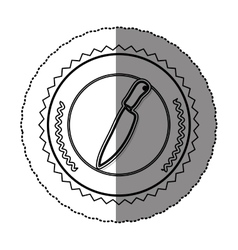 Monochrome sticker round frame with knife vector