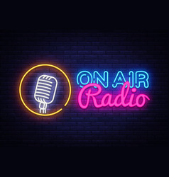 On air radio neon logo air radio neon vector
