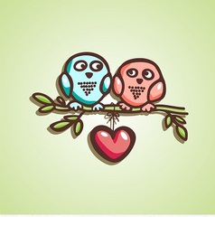 Owls fall in love vector