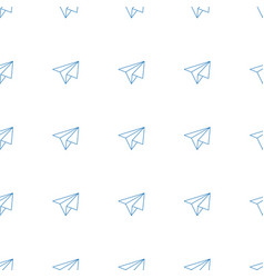 paper airplane icon pattern seamless white vector image