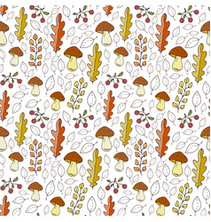 Pattern with mushrooms berries and autumn leaves vector