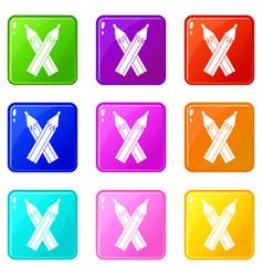 Pencils icons 9 set vector