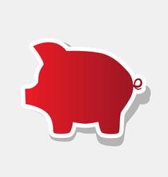 pig money bank sign new year reddish icon vector image