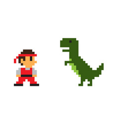 Pixel man and big rex dinosaur poster vector
