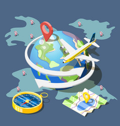 planning traveling isometric composition vector image