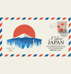 Postal envelope with mount fujiyama japan vector