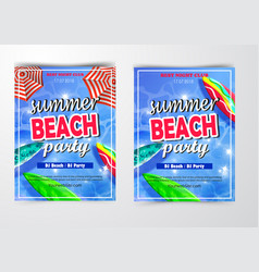 poster for summer and beach party background vector image
