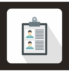 Resume of two candidates icon flat style vector