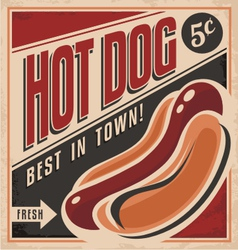 Retro hot dog poster design vector image
