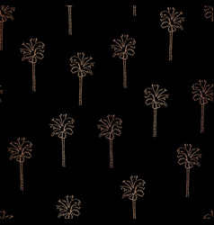 rose gold copper foil abstract palm trees pattern vector image