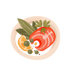 salmon fish greens and slice of lemon in plate vector image
