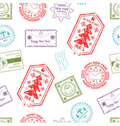 santa claus post and marks from mails of kids vector image