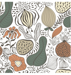 Seamless tough pattern with fantastic flowers vector