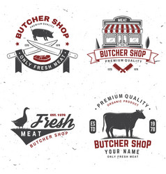 Set butcher shop badge or label with cow pig vector