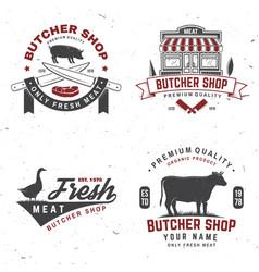 set butcher shop badge or label with cow pig vector image