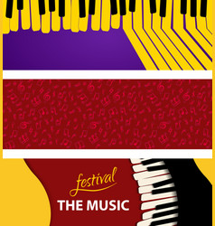 set music abstract background piano keys on color vector image