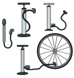 set of bicycle pump vector image