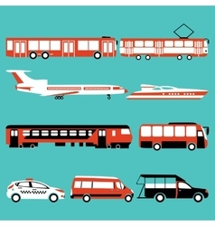 set of color public transport vector image
