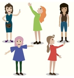 set of girls different nationality appearance vector image