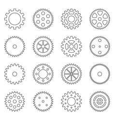 Set of outlines of gear wheels vector
