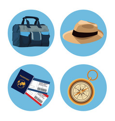 Set of travel elements vector