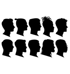 Silhouette man heads in profile black face vector