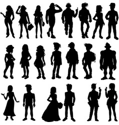 silhouettes cartoon people vector image