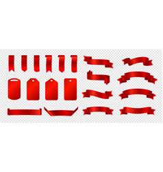 silk ribbons red ribbons badges set vector image