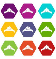 small princess crown icons set 9 vector image