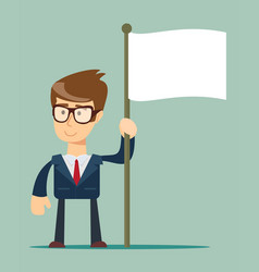 Smiling businessman holding flagpole with vector
