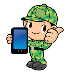 Soldier character and smartphone isolated on vector
