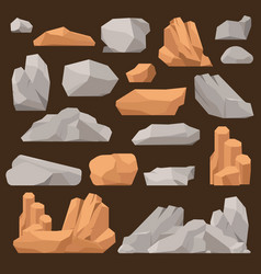 Stones and rocks in cartoon style big vector