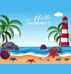 summer background with lighthouse on the island vector image