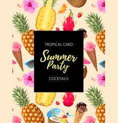 summer card with tropic cocktails and flowers vector image