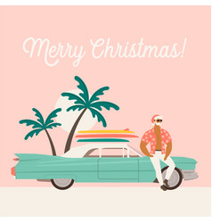 Summer holiday vacation with santa claus and car vector