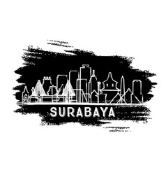Surabaya indonesia city skyline silhouette hand vector