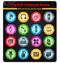 Tattoo salon icon set vector
