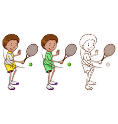tennis player in three sketches vector image