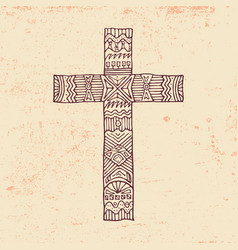 the cross of jesus drawn by hand vector image