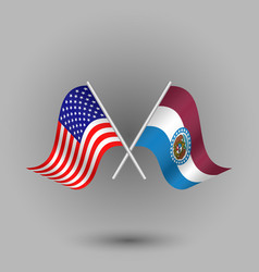 Two crossed american and flag of missouri vector