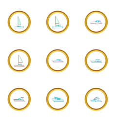 types of sea boat icons set cartoon style vector image